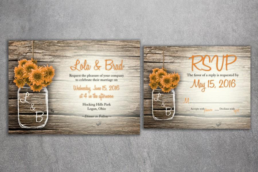 Wedding - MASON JAR Flowers Rustic Wedding Invitation Set Printed, Cheap Wedding Invitations, Flowers, Unique, Custom Wedding Invitations, Affordable