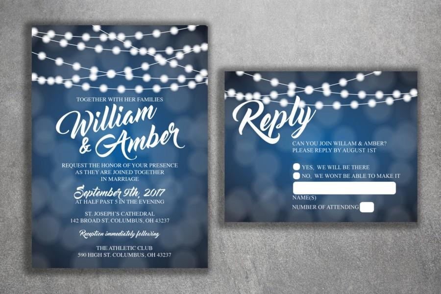 blue and white lights wedding invitations set printed cheap