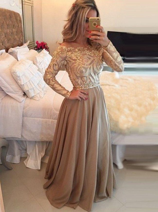 Wedding - Hot Selling A-Line Cowl Floor Length Gold Prom Dress,Long Sleeves Evening Dresses,111043015