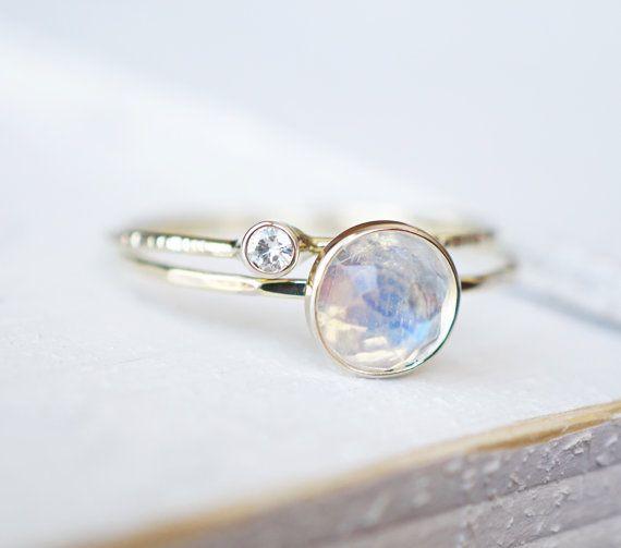 Hochzeit - Rainbow Moonstone Ring Set, Moissanite Ring Set, Diamond Ring, Engagement Ring, Wedding Band, White Gold Ring, 14k Gold Ring, Stacking Rings