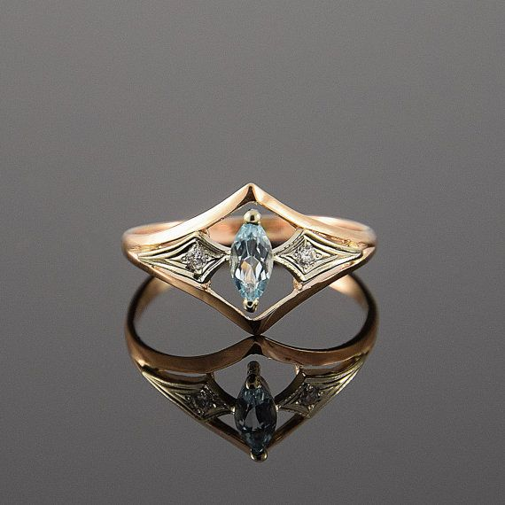 زفاف - Art Deco Ring, Topaz Ring, Gold Art Deco Ring, Topaz Ring Gold, Blue Stone Ring, Blue Topaz Ring, Geometric Ring