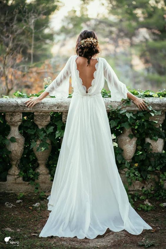 Mariage - Chiffon Elegant Wedding Dress,sexy Long Sleeves And Flirty Peek-a-boo Back Wedding Dress
