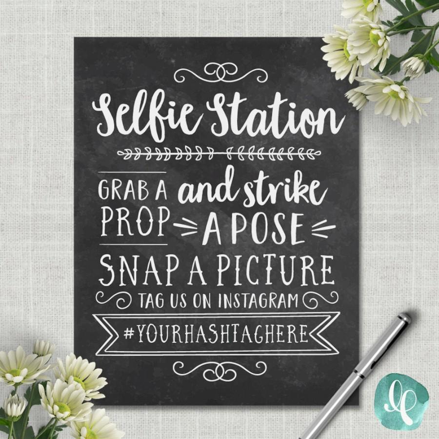 image about Photo Booth Sign Printable named Chalkboard Selfie Station Signal / Marriage Image Booth Signal