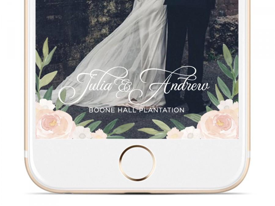 Mariage - Ivory Floral Watercolor Wedding Snapchat Geofilter