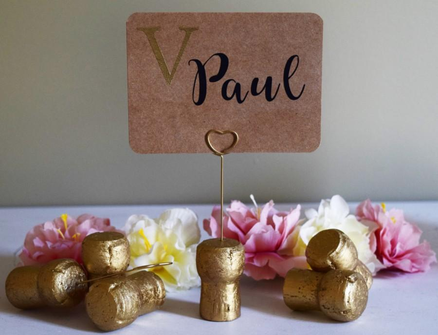 Gold Champagne Corks With Gold Wire Stand Place Card Holder Or
