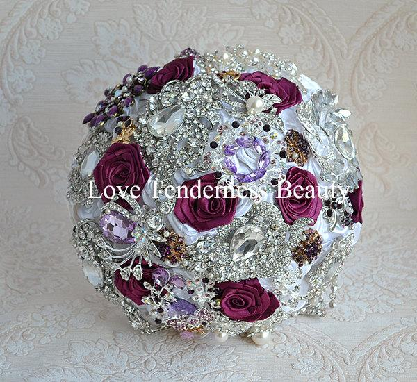 Wedding - SALE! READY to SHIP  Plum Wedding Brooch Bouquet, White and Silver Bouquet, Bridal Bouquet, Rosette Plum bridesmaids bouquets, wedding decor