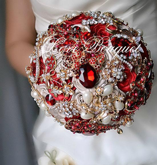 Mariage - brooch bouquet, wedding bouquet, bridal bouquet, wedding, bouquets, flowers  bouquet, crystal bouquet, jewelry bouquet, rhinestone bouquet