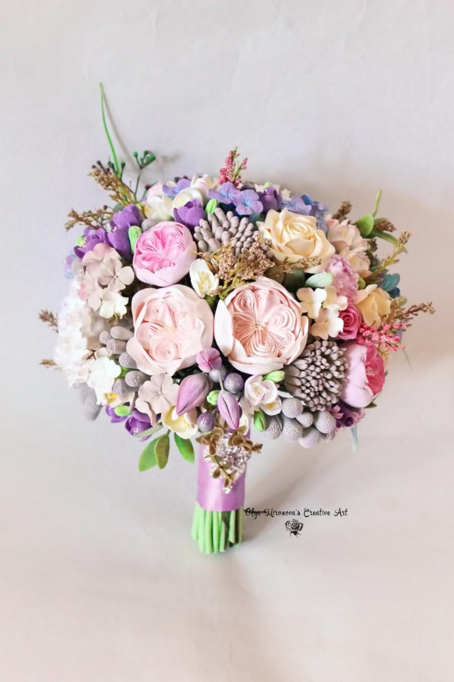 gorgeous alternative wedding bouquet clay bouquet big bridal bouquet