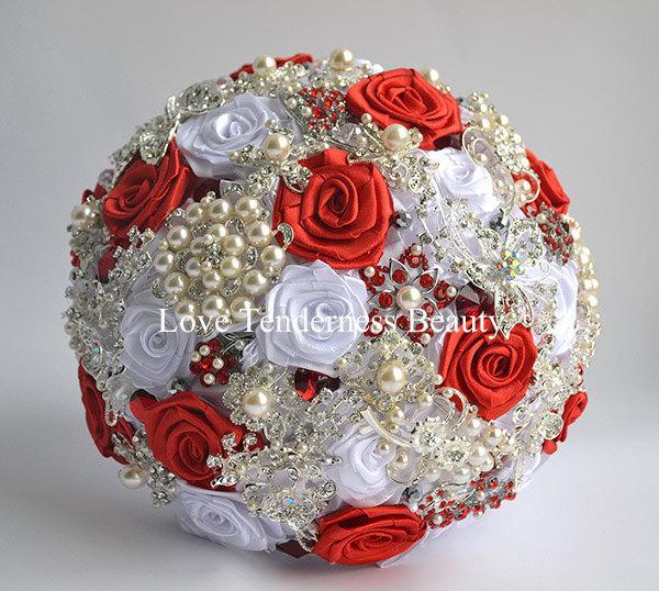 Wedding - Silk Flowers Wedding Brooch Bouquet, Red and Silver Wedding Bouquet, Bridal Bouquet, Jewelry Bouquet, Broach Bouquet, Rhinestone Bouquet