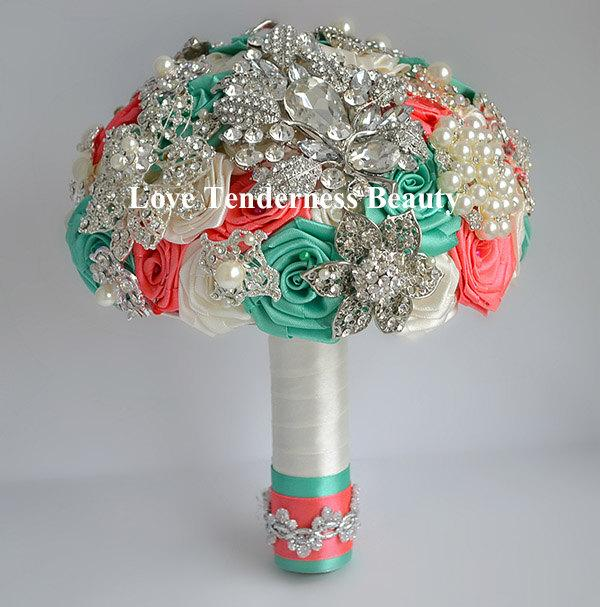 Mariage - SALE! Wedding Bridal Bridesmaid Brooch Bouquet, Coral Mint Ivory and Silver Wedding Bouquet, Bridal Bouquet, Jewelry Bouquet, Broach Bouquet