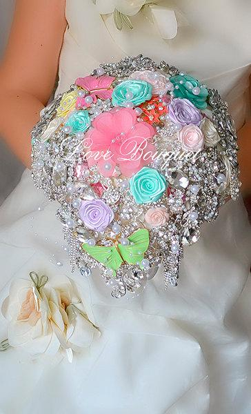 Mariage - Cascading Brooch bouquet, Mint, Lilac, Pink, Coral and Silver Wedding Brooch Bouquet, Bridal Bouquet, Jewelry Bouquet, Chandelier Wedding