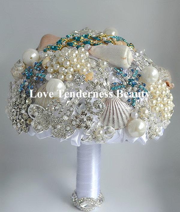 Mariage - Sea Shells Wedding Brooch bouquet, Pearls and Silver Wedding Bouquet, Bridal Bouquet, Crystal White and Turquoise Bouquet, Jewelry Bouquet