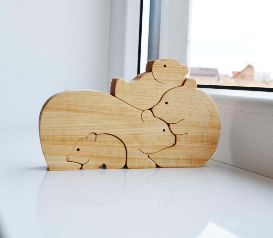 Christmas Kids gifts - Wood bear Wooden Puzzle bear Educational toys - montessori toys - Animal puzzle - bears family & Christmas Kids Gifts - Wood Bear Wooden Puzzle Bear Educational Toys ...