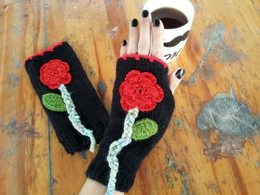 Black Handmade Gloves, Crochet Gloves, Wool Gloves, Knit Gloves ...