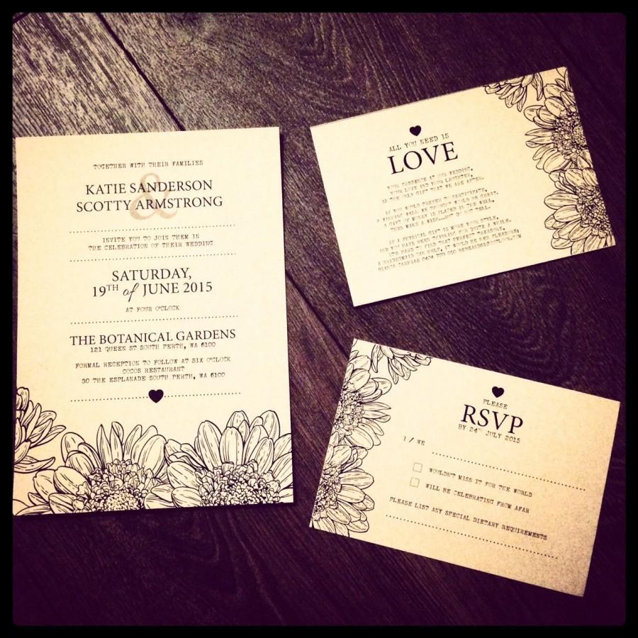 Wedding - Custom Printable Wedding Invitation Set - Rustic Flower Design