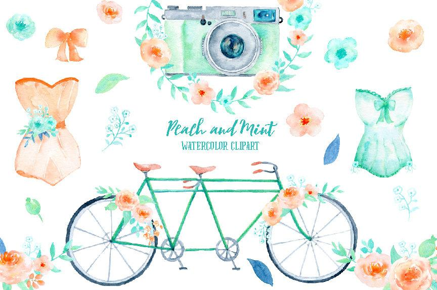 Watercolor wedding. Clipart peach and mint