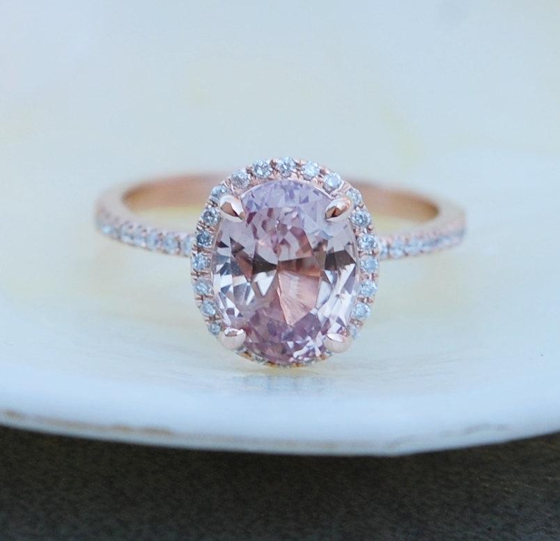 زفاف - Peach Sapphire Ring, Peach Sapphire Engagement Ring, Champagne Sapphire Ring, Oval Cut Engagement Ring, 14k Rose Gold ring