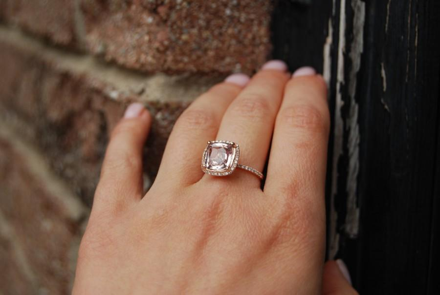 Mariage - 3.08ct Square Cushion Rose Peach Champagne Sapphire 14k rose gold diamond  Engagement Ring