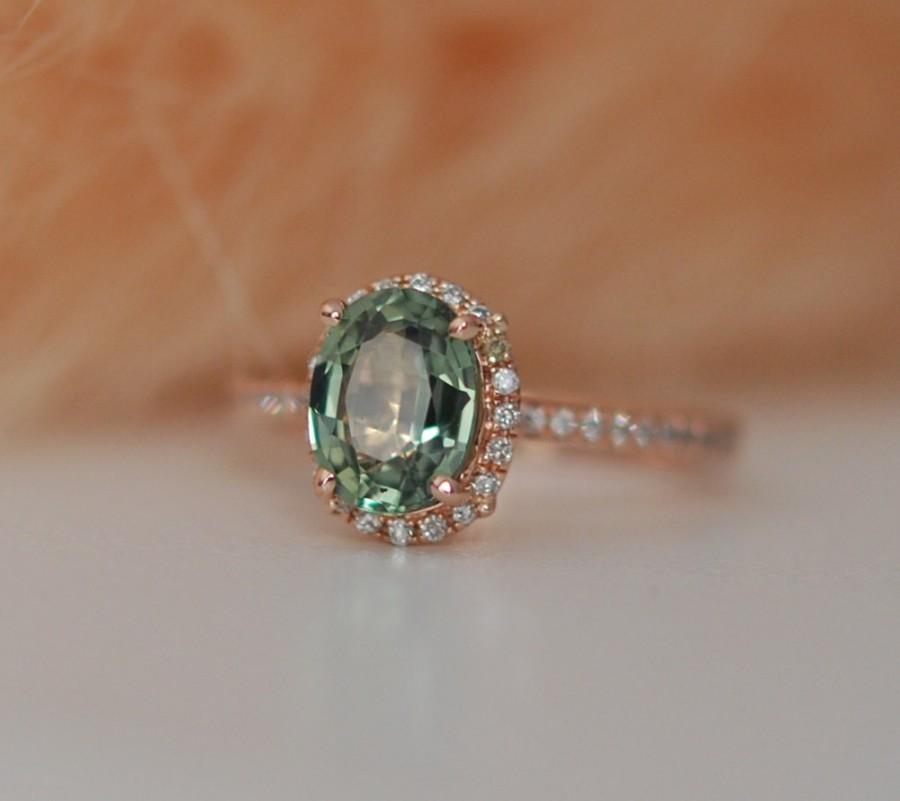 Wedding - Spring Green Sapphire Diamond Ring 14k rose gold engagement ring by Eidelprecious
