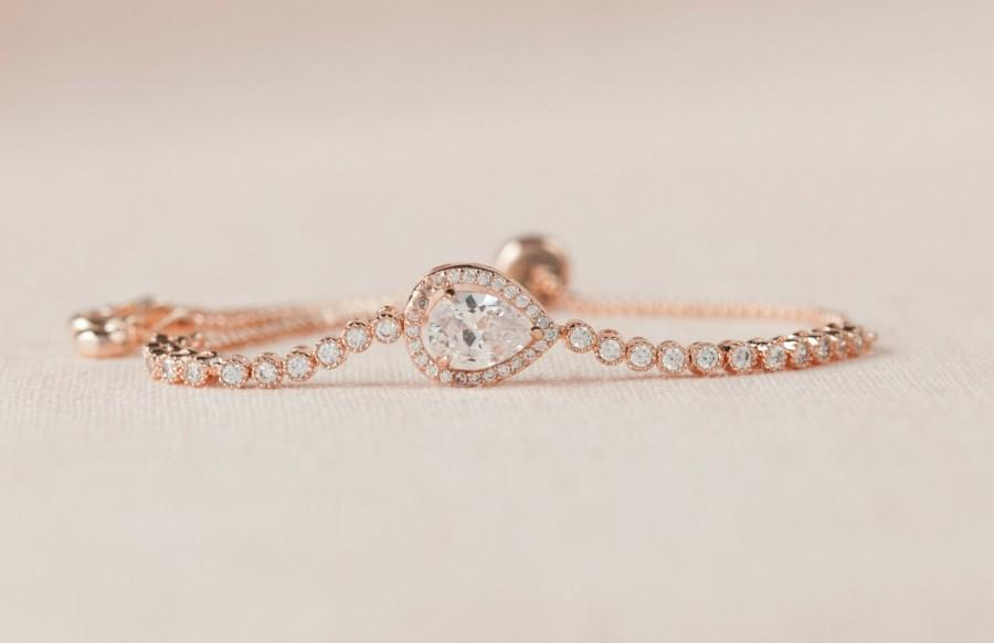 Hochzeit - Rose Gold Bridal Bracelet, Gold Bangle Wedding Bracelet, Bridesmaid Jewelry, Bridal Jewelry, Bailey Bracelet