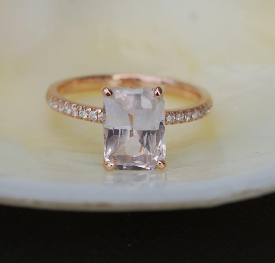 زفاف - Blake Lively ring Peach Sapphire Engagement Ring emerald cut 14k rose gold diamond ring 2.67ct sapphire ring