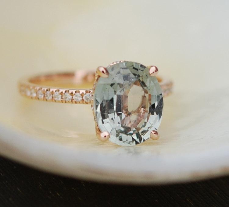 زفاف - Blake Lively Sapphire Engagement Ring 14k Rose Gold 3.43ct Jasmine Oval Sapphire Ring