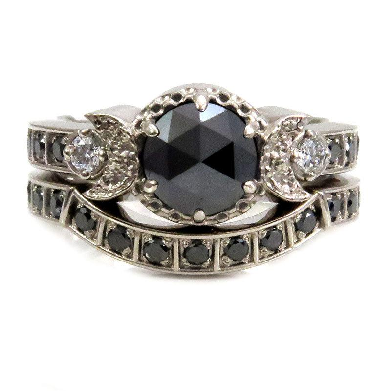 ring new engagement gold black products diamond rings marrow moon fine signet