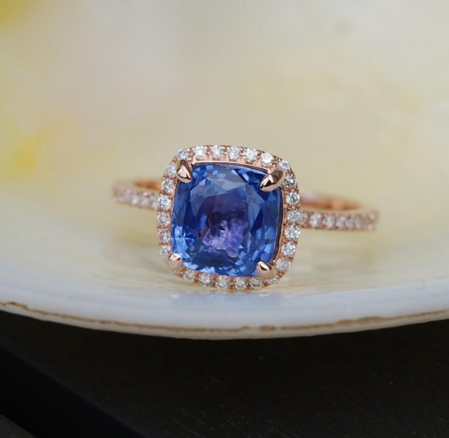 Mariage - Cornflower blue sapphire ring. Square cushion diamond ring. 14k rose gold ring engagement ring by Eidelprecious.