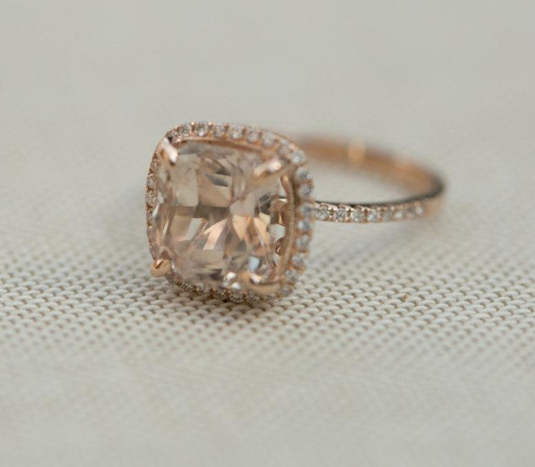 Mariage - Sapphire engagement Ring. 14k Rose Gold ring. Engagement Ring. 4.84ct Square Cushion Ice Peach sapphire ring by Eidelprecious.
