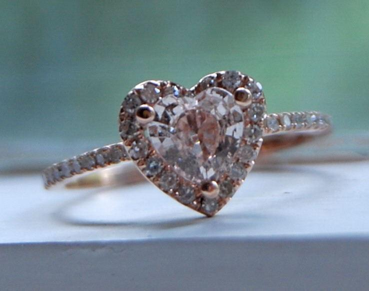 Mariage - 1ct Heart peach champagne rose gold diamond ring