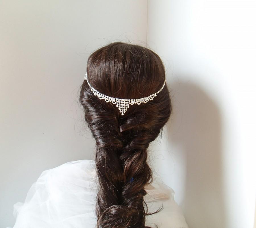 Mariage - Bohemian Hair Chain Wedding Head Piece Rhinestone Hair Jewelry Gatsby Downton Abbey