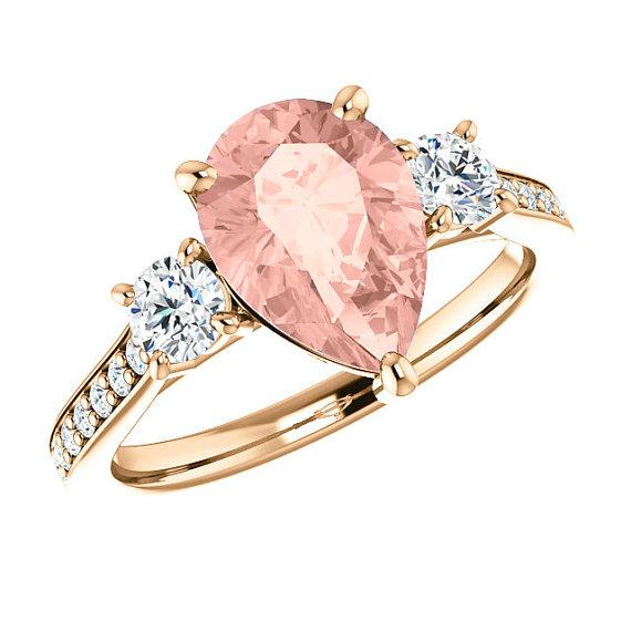 10x7mm pear morganite & diamond engagement ring图片