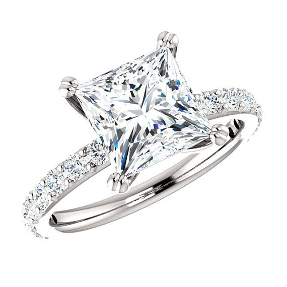 Wedding - 2.30 Carat Square SUPERNOVA Moissanite & Diamond Engagement Ring 14k, 18k or Platinum, 7.5mm Princess Moissanite Rings Cyber Monday 2016