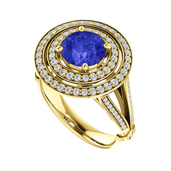 Hochzeit - 7mm Tanzanite & Diamond Double Halo Split Shank Engagement Ring 14k Yellow Gold or 18k, Gemstone Tanzanite Wedding Rings for Women 1.30 ct