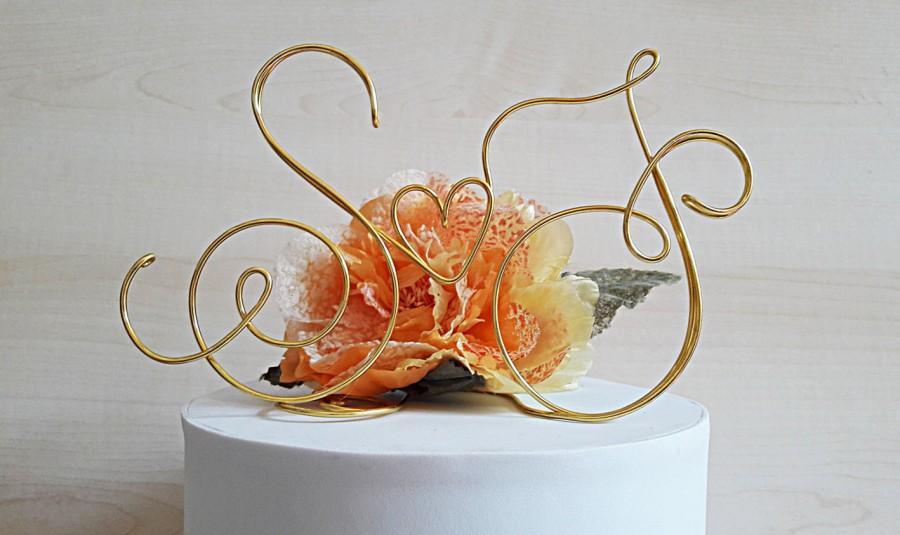 Свадьба - Custom Wedding cake topper, Initials cake topper, wire cake topper, wedding cake decoration, handmade topper