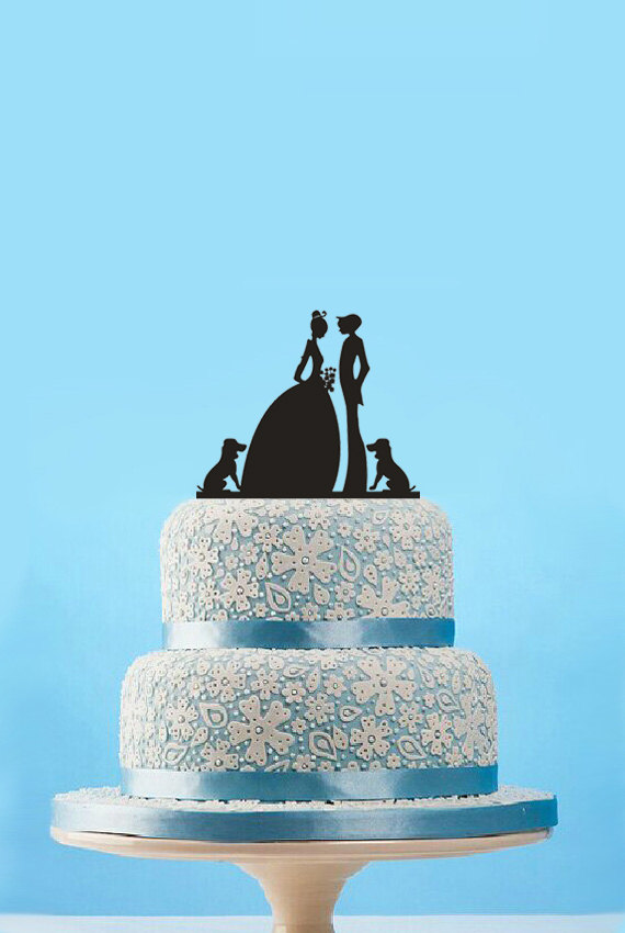 Wedding - Silhouette Cake Topper with Two Dogs-Wedding Cake Topper-Bride and Groom Cake Topper-Personalzied Cake Topper Cake Decor-Funny Cake Topper