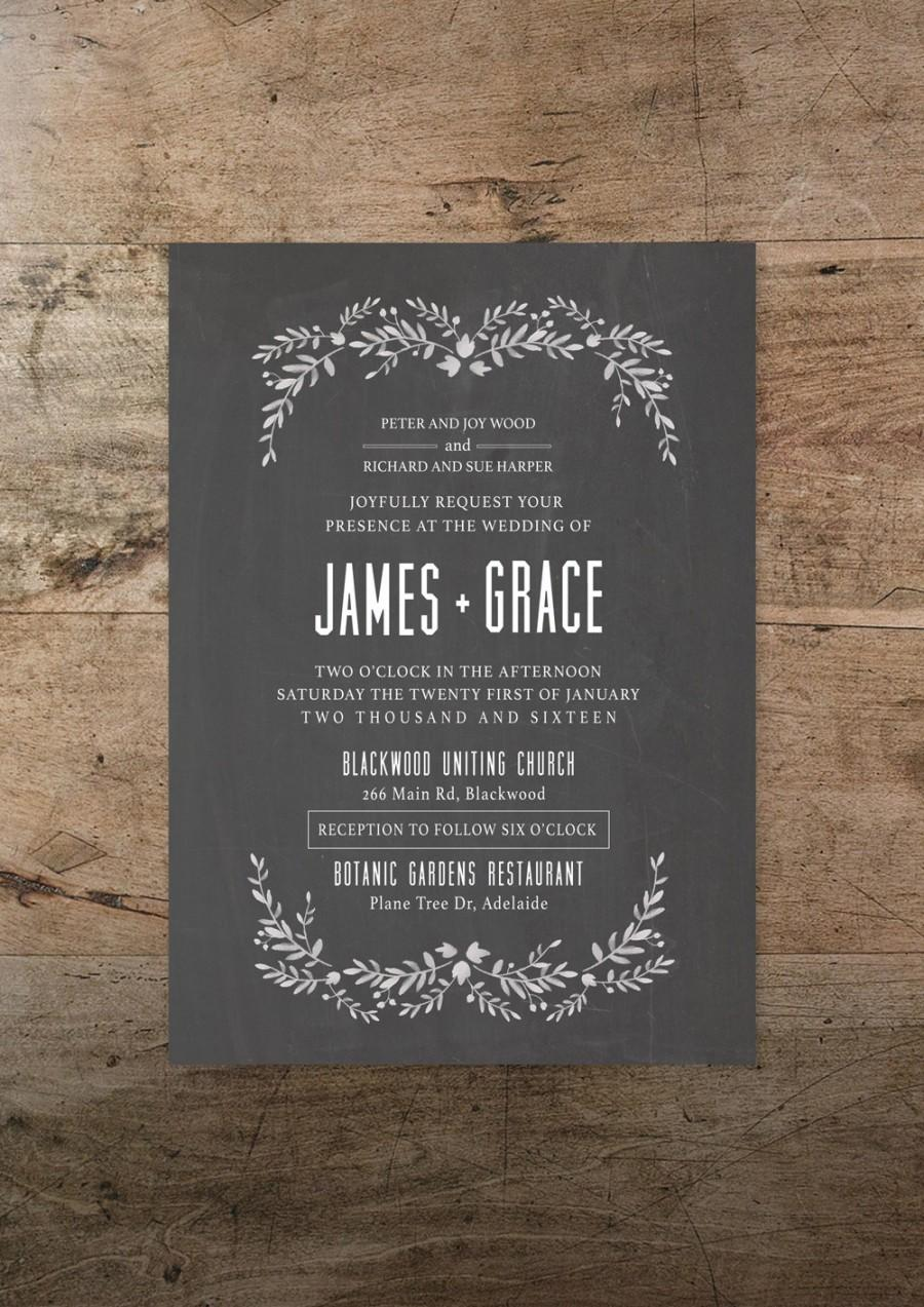 Printable Wedding Invitation And RSVP Card Modern Romance Design Foliage Vintage Rustic Bohemian DIY Print