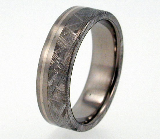 Titanium Wedding Band With Sterling Silver And Meteorite Inlay 6mm