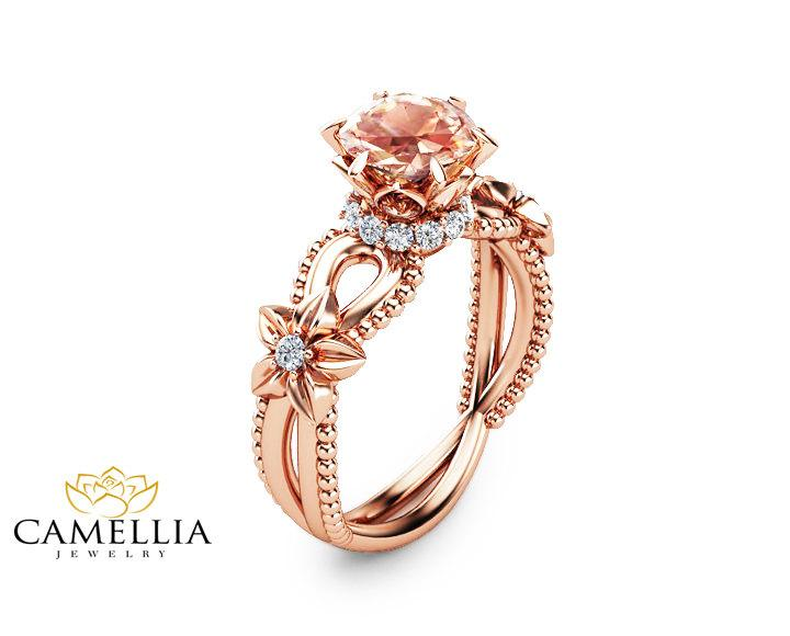 Hochzeit - Peach Pink Morganite Engagement Ring Handmade 14K Rose Gold Ring Art Deco Engagement Ring Unique Flower Ring