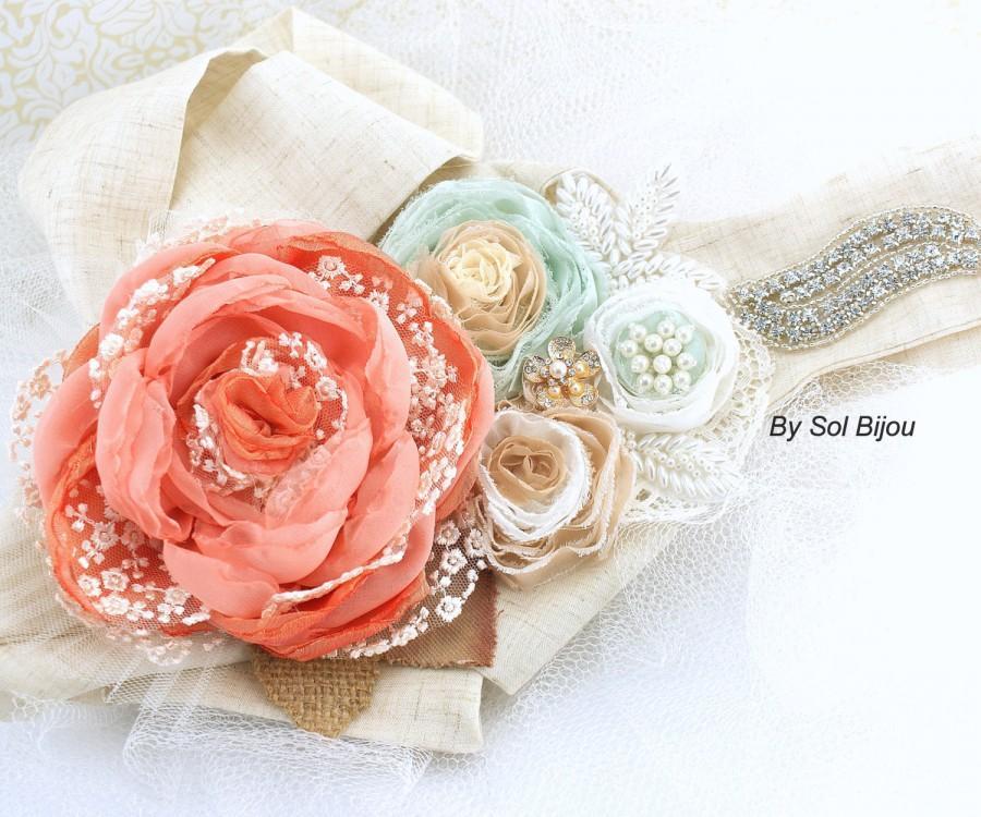Mariage - Sash, Bridal, Elegant Wedding, Coral, Blush, Mint, Ivory, Tan, Gold, Lace, Burlap, Pearls, Crystals, Shabby Chic, Rustic Wedding
