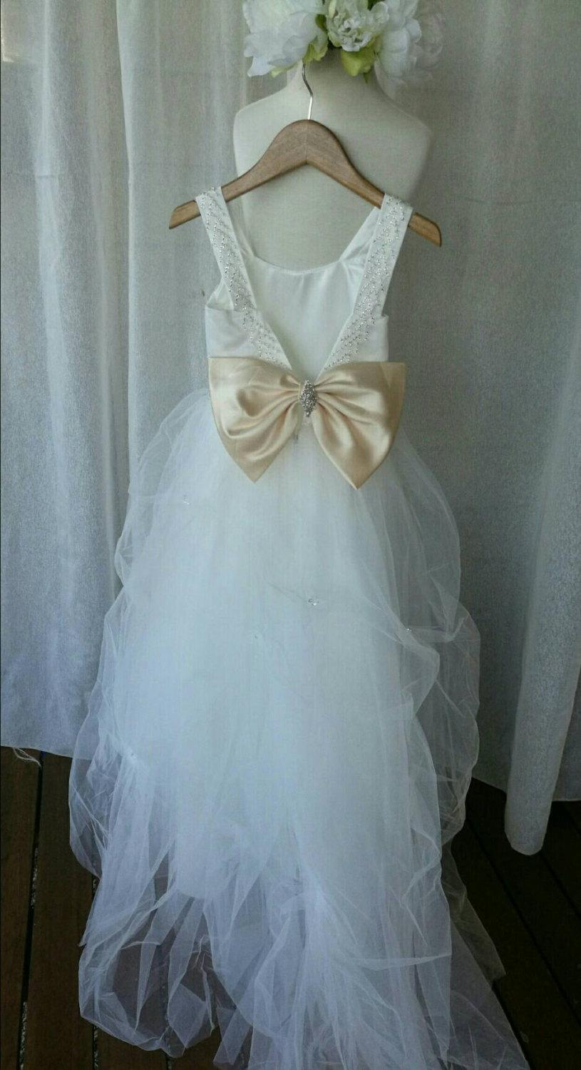 Customized Ivory White Stunning Girls Flower Girl Pageant Special