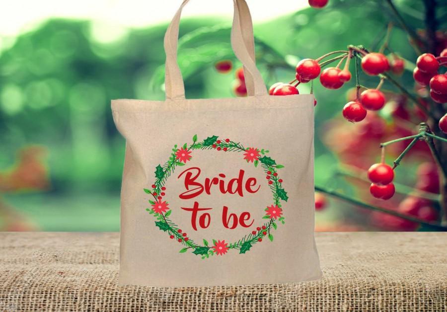 Wedding - Personalised Winter WEDDING TOTE BAG, Bride to be, Shopping bag, Mother of the Bride, Engagement gift, Bridesmaid bag. Christmas Wedding bag
