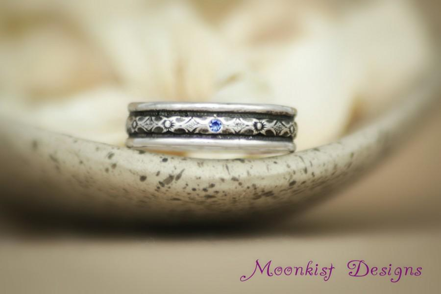 Свадьба - Wide Renaissance Diamond Pattern Wedding Band With Inset Stone in Sterling - Silver Geometric Unisex Commitment Ring - Mens' Engagement Ring