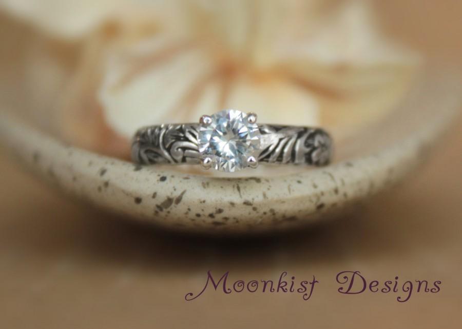 زفاف - Flower and Leaf White Sapphire Engagement Ring in Sterling Silver - Floral Promise Ring with Diamond Alternative - Pattern Ring