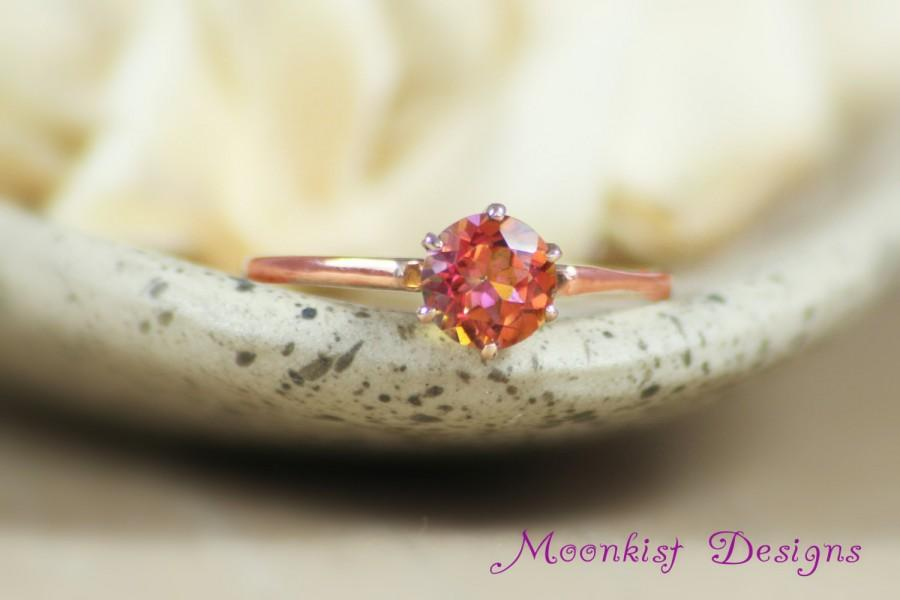 Mariage - Anastasia Topaz Classic Solitaire Ring in 14K Rose Gold - Vintage-style Solitaire Engagement Ring - Unique Rose Gold Promise Ring