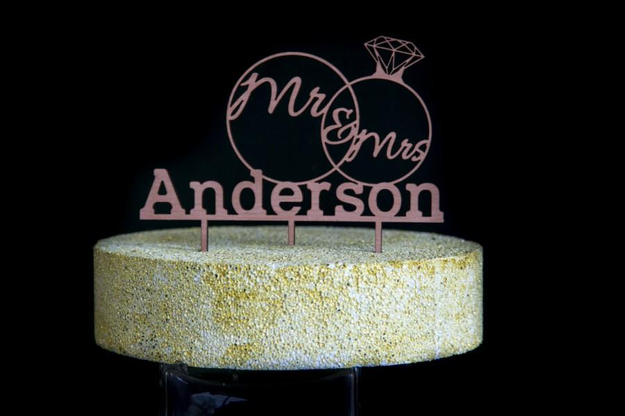 Mariage - Custom made CAKE TOPPER - Mr & Mrs with YOUR new last name