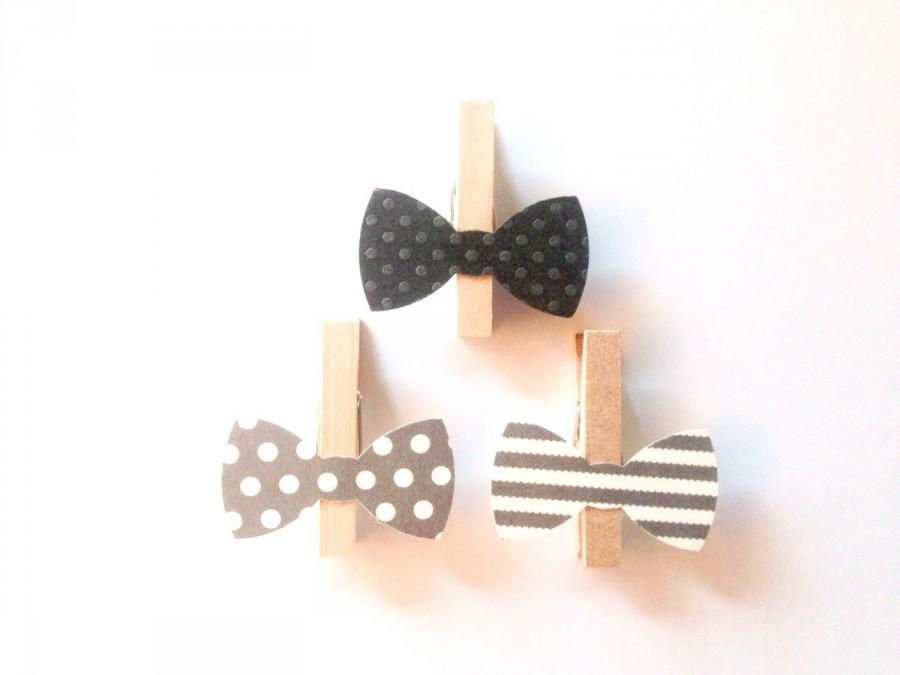 Mariage - Gray Bow Tie Clothespin Stripes Mini Polka Dots Clips Birthday Party Baby Shower Games Wedding Decoration Clothes Pins Don't Say Baby