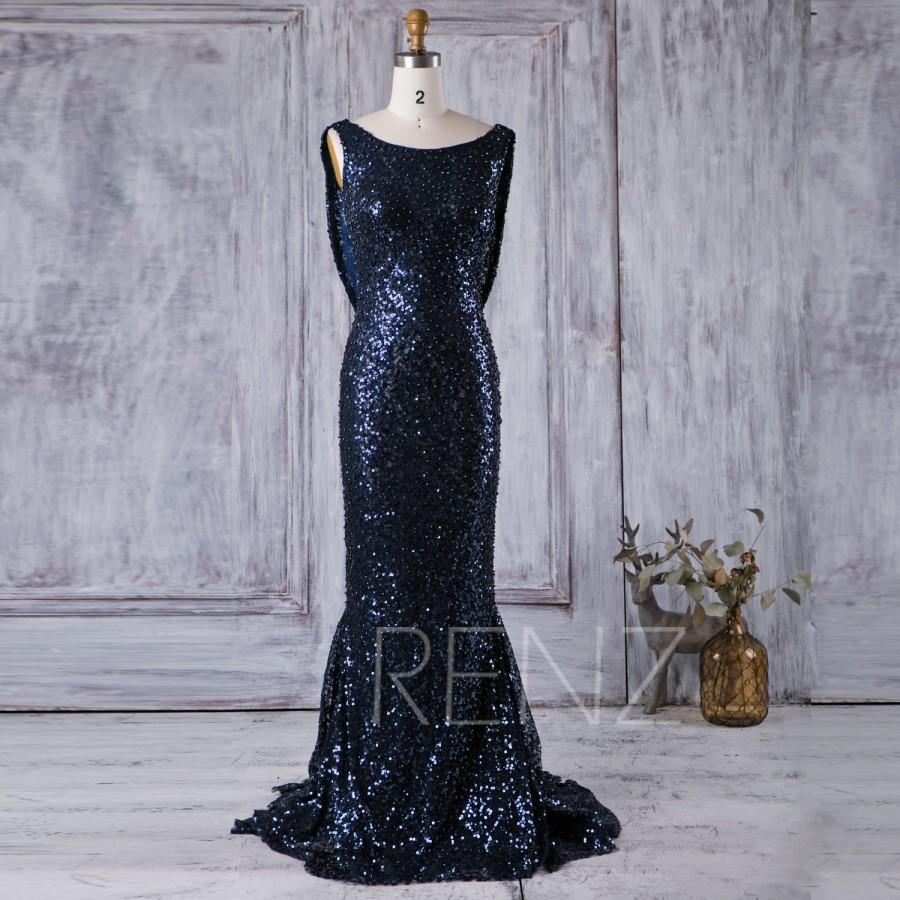 Wedding - 2016 Navy Sequin Bridesmaid dress, Scoop Neck Luxury Sequin Evening Gown, Cowl Back Mother Of Bride Dress, Long Cocktail Dress Floor(XQ045B)