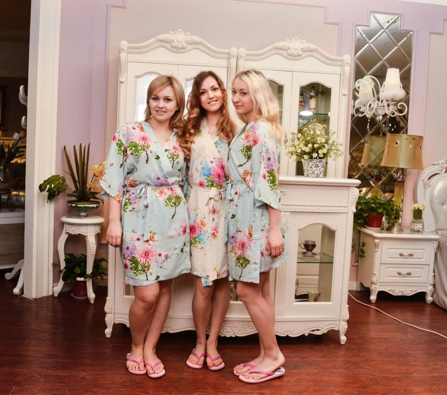 Nozze - bridesmaid robe kimono robe personalized bridesmaids gifts satin bridesmaid robes floral robe no silk robe floral silk robe satin robe SJP00