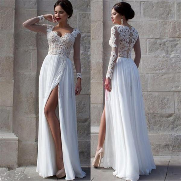 Wedding - White Side Slit Elegant Custom Cheap Wedding Party Prom Dresses Online,PD0072